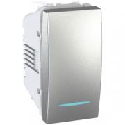 MGU3.101.30N Выключатель одноклавишный 1мод. с подсветкой алюминий Unica Schneider Electric