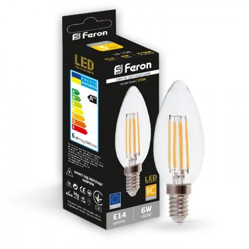 Лампа светодиодная свеча 6W E14 2700K filament Feron LB-158 C37