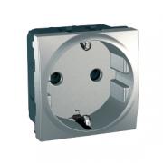 MGU3.037.30 Розетка с заземлением, с защитными шторками алюминий Unica Schneider Electric