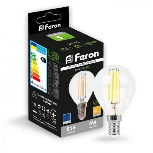 Лампа светодиодная 4W E14 4000K filament Feron LB-61 P45